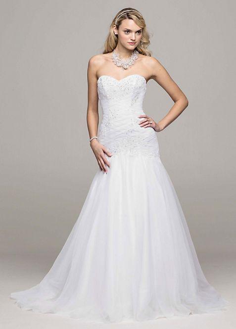 Sweetheart Trumpet Beaded Applique Wedding Dress   David\'s Bridal