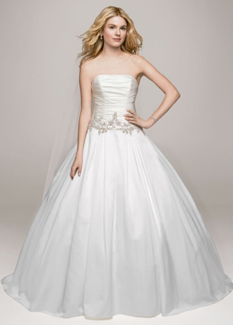 Strapless Satin Ball Gown with Beaded Accents WG3630