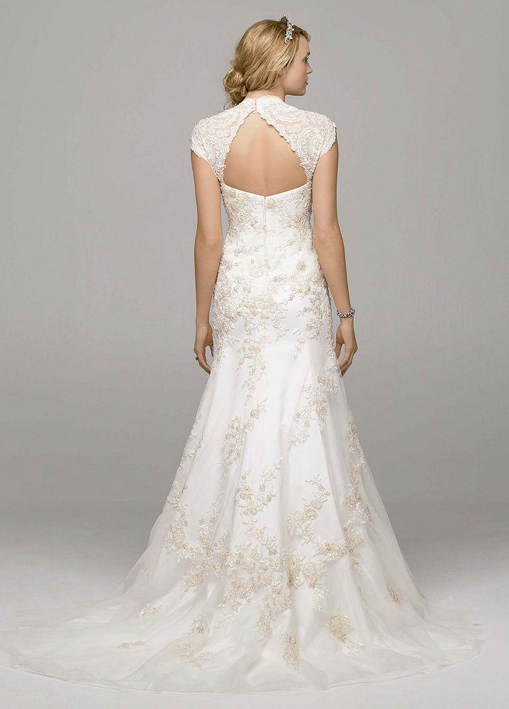 Trumpet Wedding Dress Tulle : David s bridal tulle over satin cap sleeve trumpet wedding