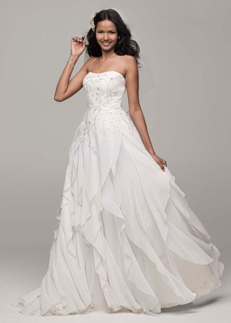 David's Bridal Strapless A-Line Chiffon Wedding Dress with Ruffle ...