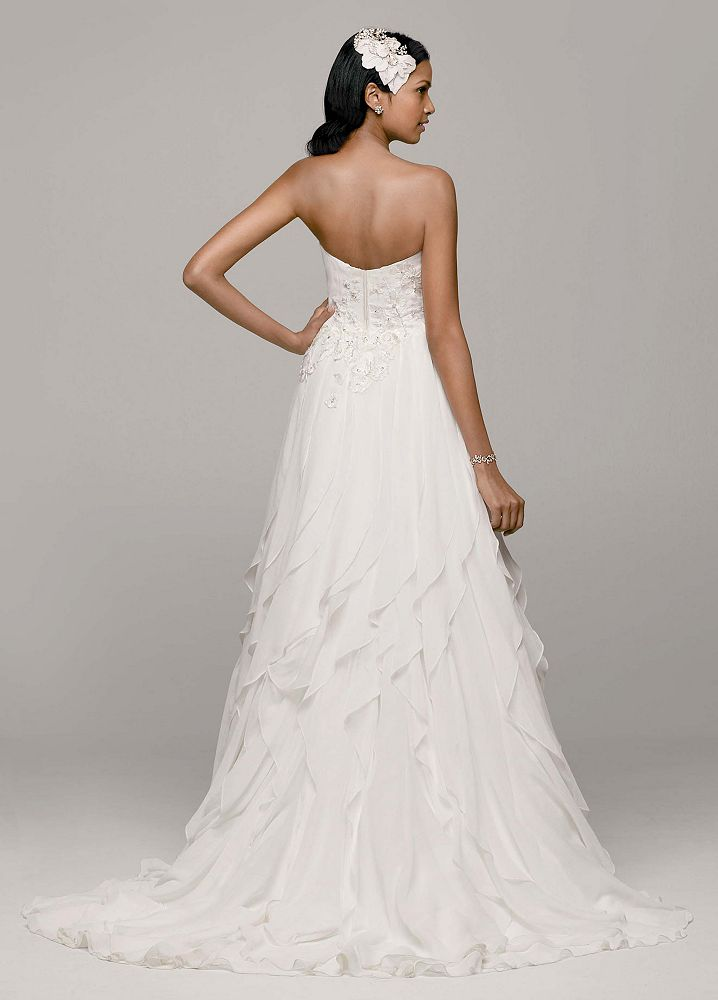David 39 s bridal strapless a line chiffon wedding dress with for A line skirt wedding dress