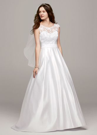 Cap Sleeve Wedding Dress with Illusion Neckline | David's Bridal