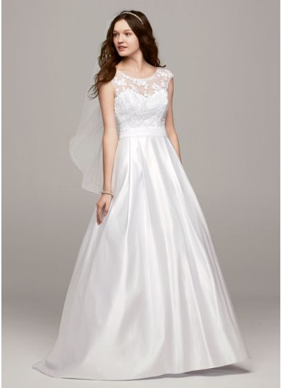 Cap sleeve wedding dress with illusion neckline davids for How to start a wedding dress shop
