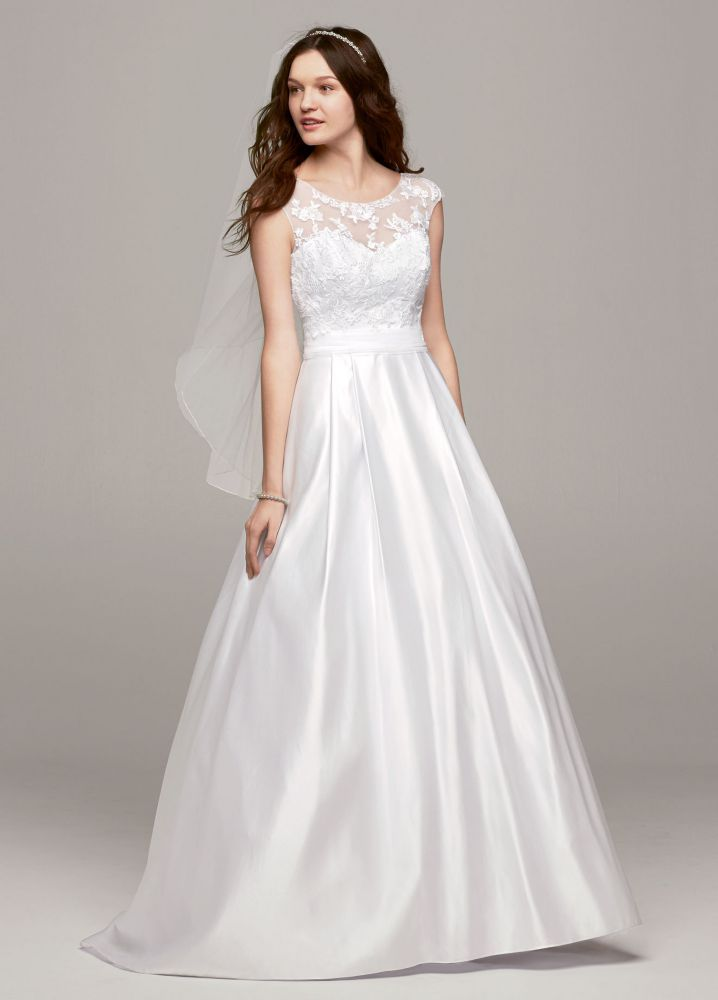 cap sleeve a line wedding dress with illusion neckline