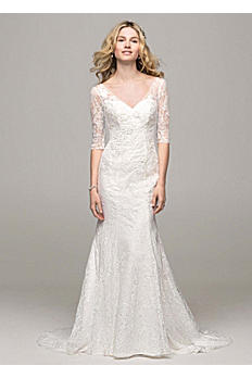3/4 Sleeve All Over Lace Trumpet Gown AI10030443