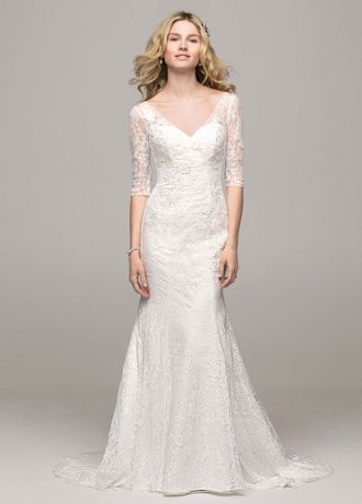 David's Bridal 3/4 Sleeve All Over Lace Trumpet Wedding ... Lace Trumpet Wedding Dresses With Sleeves