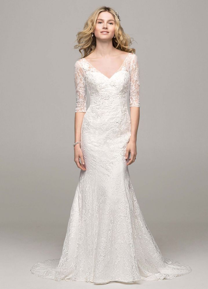 David 39 s bridal 3 4 sleeve all over lace trumpet wedding for Wedding dresses with sleeves for sale