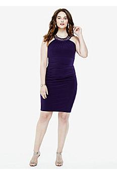 Sleeveless Jersey Dress with Beaded Neckline XS5452W