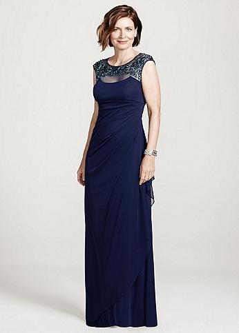 Cap Sleeve Long Jersey Dress with Beaded Neckline XS5531