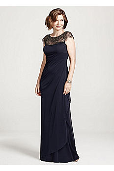 Long Matte Jersey Dress with Illusion Neckline XS5733