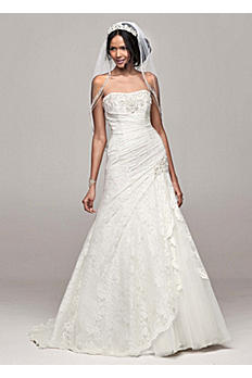Petite Side Split Wedding Dress with All Over Lace 7NTYP3344