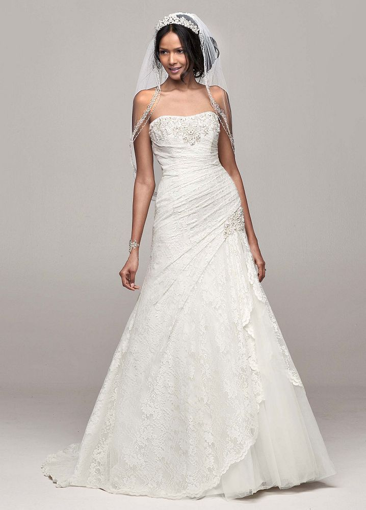 David 39 s bridal strapless lace a line wedding dress with for David s bridal lace wedding dress