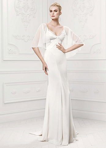Satin Sheath Gown with Chiffon Capelet Detail ZP341413