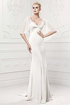 Truly Zac Posen Satin Wedding Dress with Capelet ZP341413