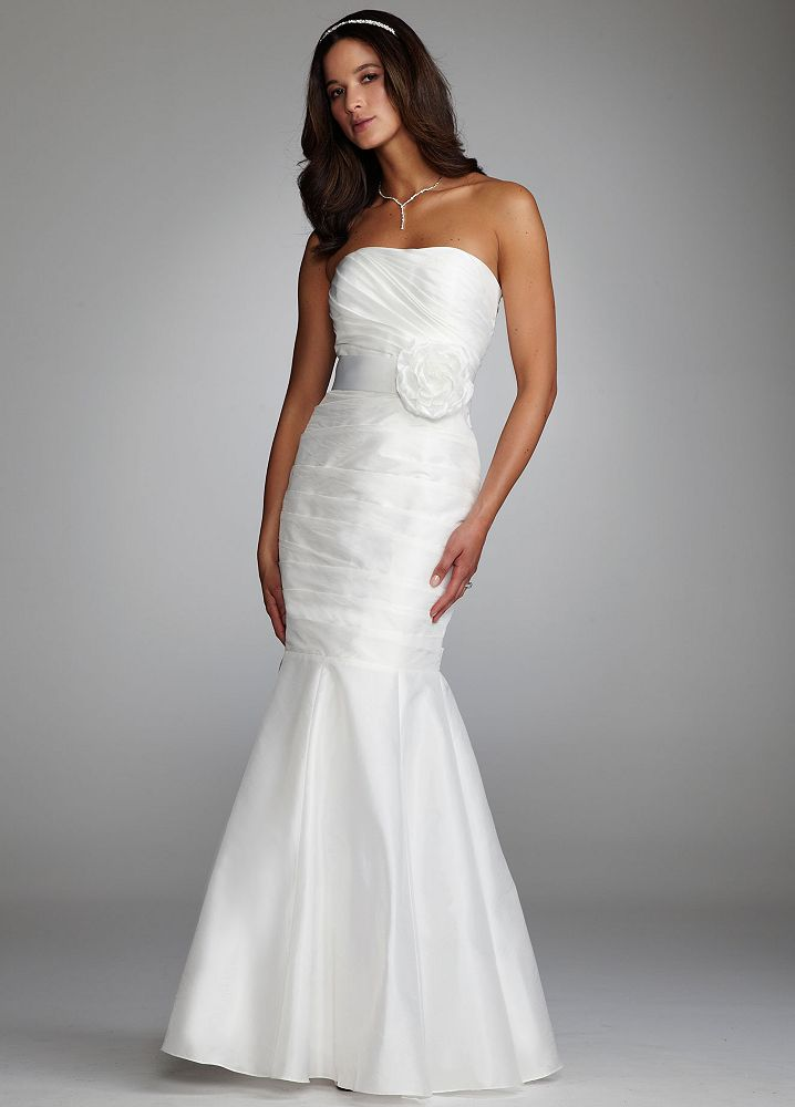 David 39 s bridal taffeta mermaid wedding dress with floral for Taffeta mermaid wedding dress