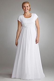 Short Sleeve Chiffon Plus Size Wedding Dress 9SLV9743