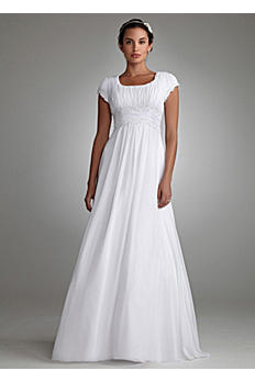 Short Sleeved Empire Waist Chiffon Wedding Dress SLV9743