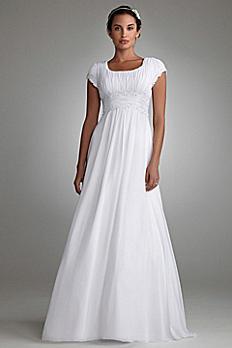 Ruched Short Sleeved Chiffon Wedding Dress 4XLSLV9743