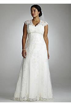Cap Sleeve Lace Over Satin Gown with Illusion AI13012289