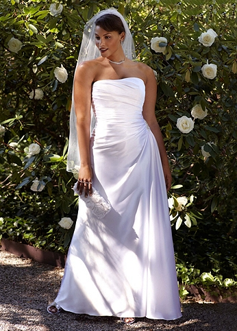 Strapless Charmeuse Gown with Beaded Applique AI13012249