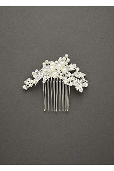 Spray Comb Featuring Pearl Clusters and Crystal