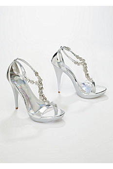 Metallic High Heel Sandal with Crystal Accents STARBURST
