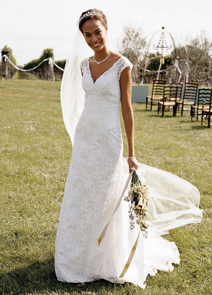 David 39 s bridal petite all over beaded lace trumpet wedding for David s bridal lace wedding dress