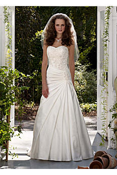 Strapless A-Line Satin Gown with Dropped Waist AI10042930