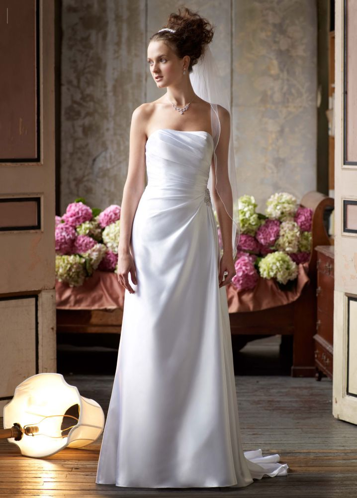 David 39 s bridal strapless charmeuse wedding dress with for Wedding dresses for 99