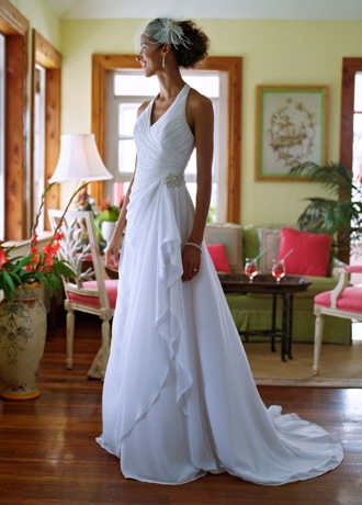 Chiffon Halter Soft Gown with Side Drape WG3260