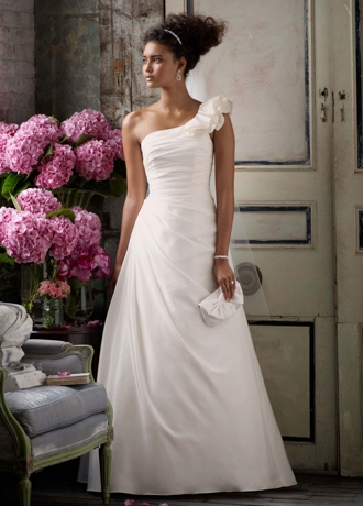 A-line Taffeta  Gown with One Shoulder Detail WG3327