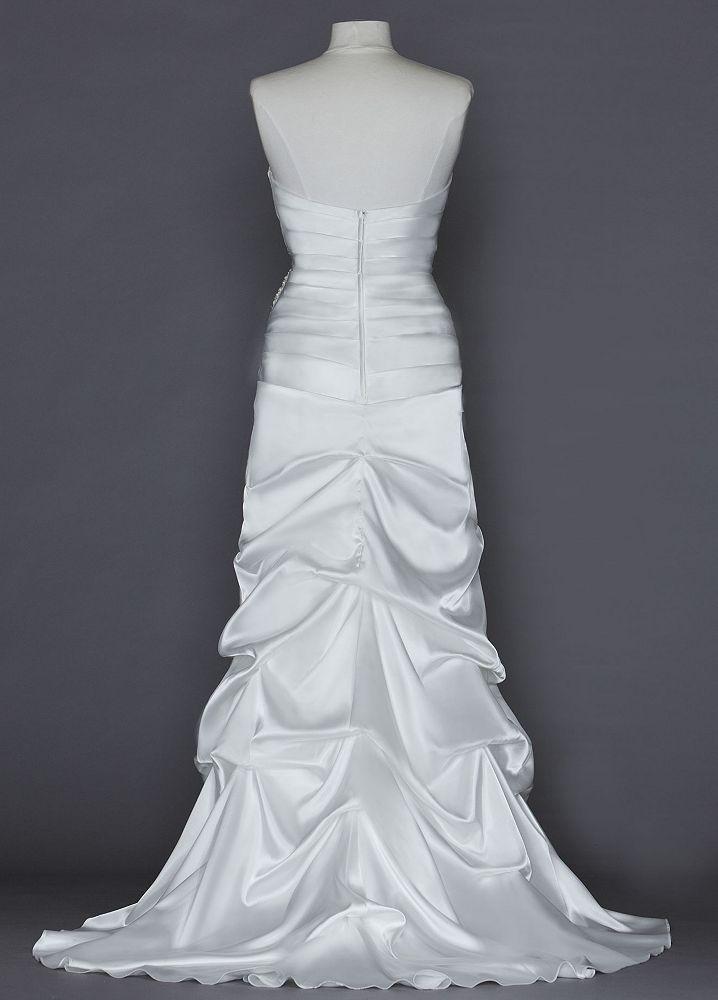 David 39 s bridal sample sweetheart charmeuse wedding dress for Pick up skirt wedding dresses