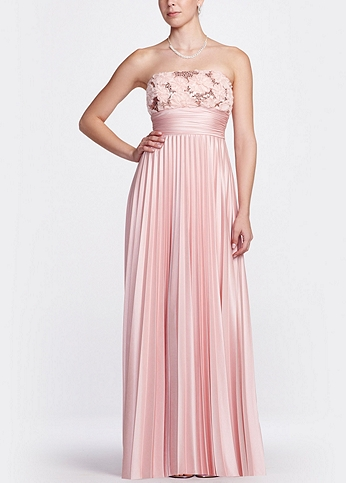 Strapless Long Sequin Pleated Gown X23405TNY