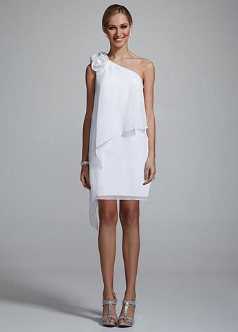 One Shoulder Chiffon Dress with 3D Floral Detail 231M39270