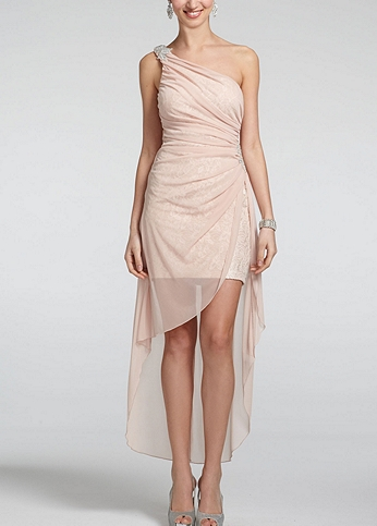 One Shoulder High Low Dress with Beaded Detail 3481WW1D