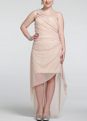 One Shoulder High Low Dress with Beaded Detail 3481WW1W