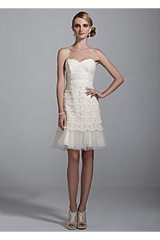 Sweetheart Lace Dress with Peek-A-Boo Hemline 875574