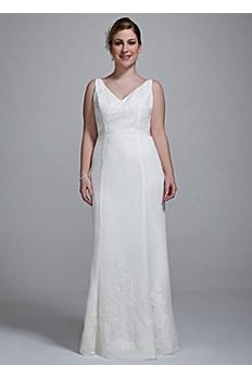 Chiffon Ruffled Plus Size Wedding Dress with Lace 9MB3491
