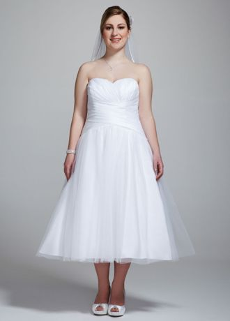 Strapless Tulle Tea Length Plus Size Wedding Dress 9WG3486