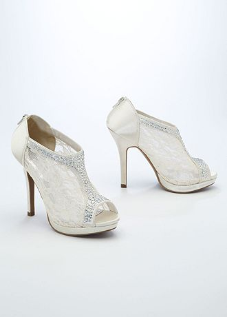 david s bridal wedding bridesmaid shoes lace high heel