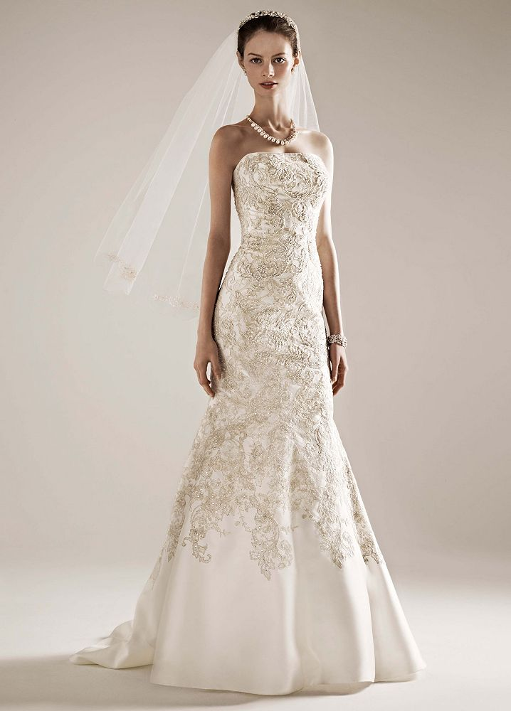 David 39 s bridal mikado trumpet wedding dress with allover for David s bridal lace wedding dress