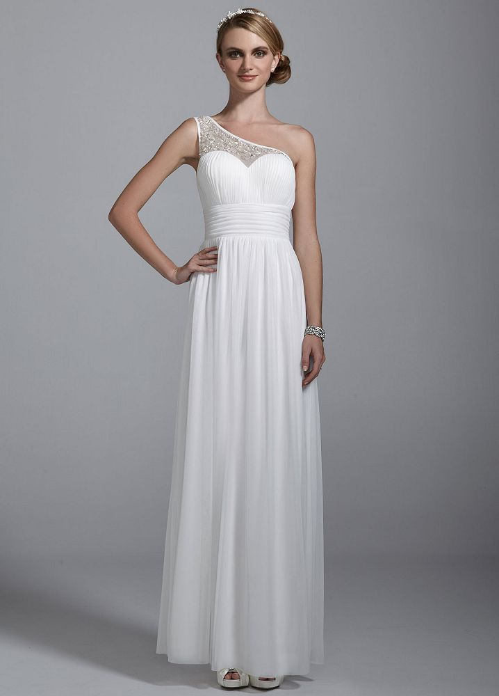 Db studio illusion one shoulder all over beaded ruched for All over beaded wedding dress