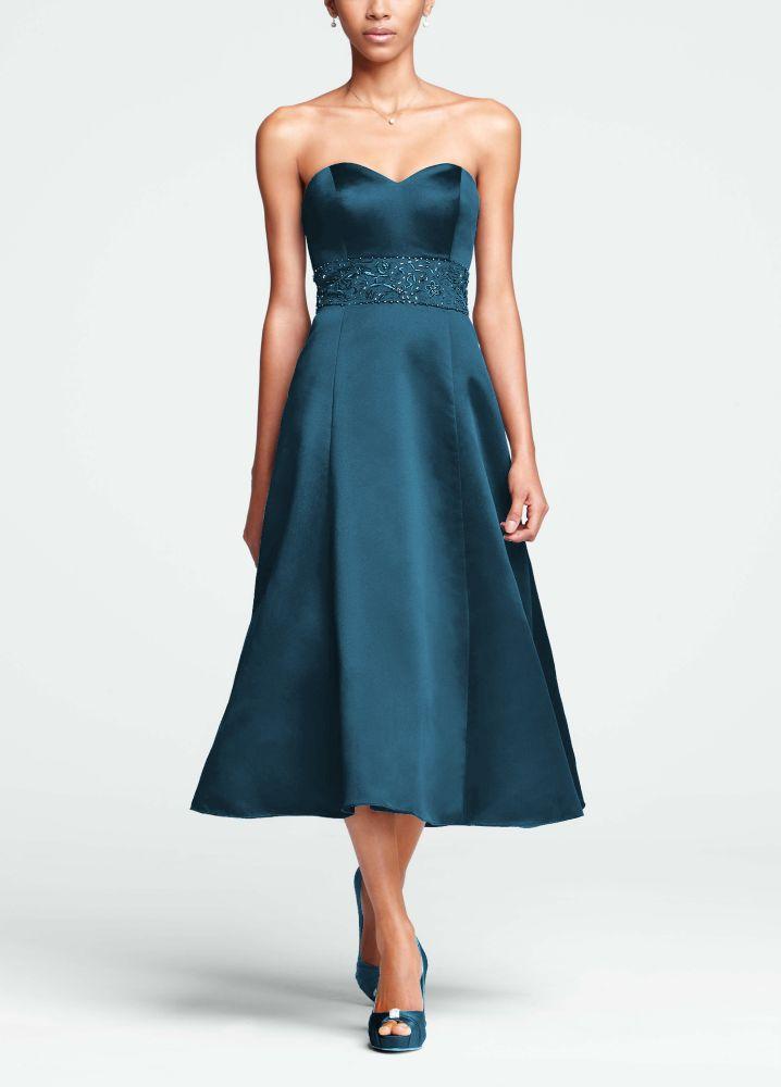 David 39 s bridal strapless sweetheart tea length dress with David s bridal strapless wedding dress