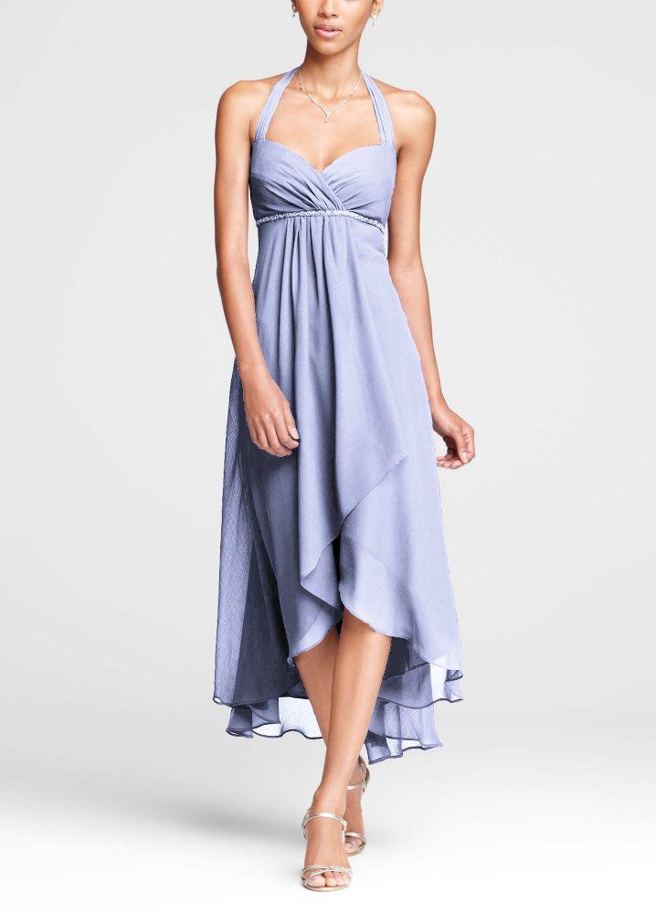 David 039 s bridal high low crinkle chiffon halter dress for High low wedding dress davids bridal