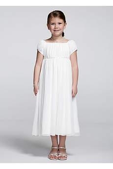 Short Sleeve Crinkle Chiffon Dress
