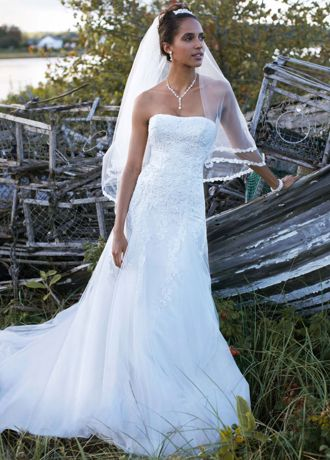 A Line Wedding Dresses with Sleeves No Train