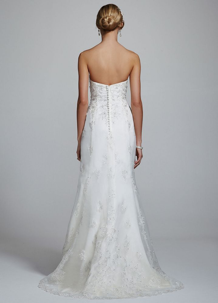 David 39 s bridal strapless sweetheart organza trumpet for Organza trumpet wedding dress