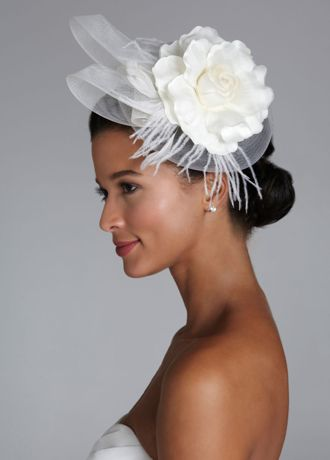 Flower and feather headband hat david 39 s bridal for Feather wedding dress davids bridal