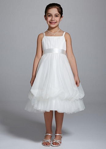 Spaghetti Strap Ball Gown with Bubble Hem WG1334