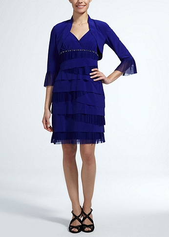 3/4 Sleeve Dress with Tiered and Beaded Detail 113682DB